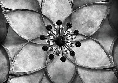 Vladislav Hall Prague Castle  Ceiling Bw Art Print