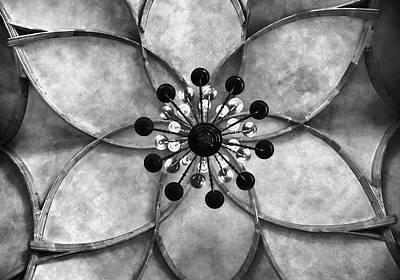 Digital Art - Vladislav Hall Prague Castle  Ceiling Bw by Mihaela Pater