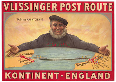 Royalty-Free and Rights-Managed Images - Vlissinger Post Route - Zeeland Maritime Company Poster - London to Flushing Ship Route by Studio Grafiikka