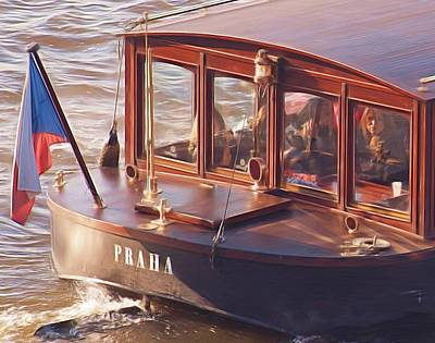 Vltava River Boat Print by Shawn Wallwork