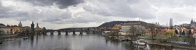 Panorama Prague Photograph - Vltava River Scene by Heather Applegate