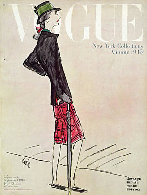 Oscar Photograph - Vogue Cover Featuring A Woman In A Plaid Skirt by Carl Oscar August Erickson