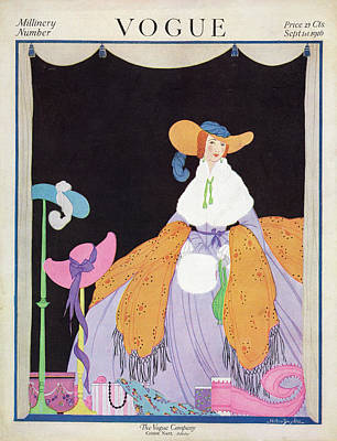 1916 Photograph - Vogue Cover Featuring A Woman Wearing A Purple by Helen Dryden