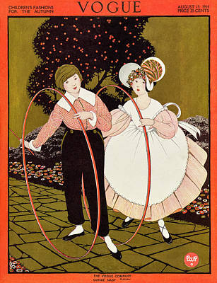 Photograph - Vogue Cover Featuring Two Children Playing by George Wolfe Plank