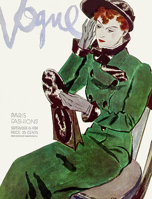 Photograph - Vogue Cover Illustration Of A Woman In A Green by Pierre Mourgue