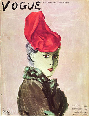 Gray Hair Photograph - Vogue Cover Illustration Of A Woman Wearing A Red by Carl Oscar August Erickson
