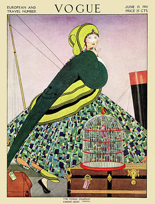 Caged Bird Photograph - Vogue Cover Of A Woman Walking On Ship by George Wolfe Plank