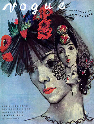 Vogue Magazine Cover Featuring A Woman In Three Art Print