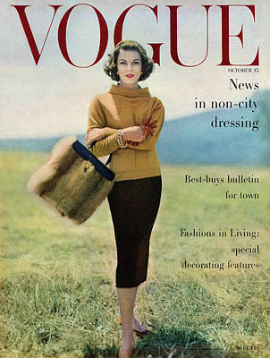 Va Photograph - Vogue Magazine Cover Featuring Model Va Taylor by Karen Radkai