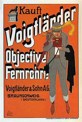 Vintage Camera Mixed Media - Voigtlander Objective Fernrohre - Vintage Camera Advertising Poster by Studio Grafiikka