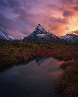 Norway Wall Art - Photograph - Volandstinden On Fire by Tor-Ivar Naess