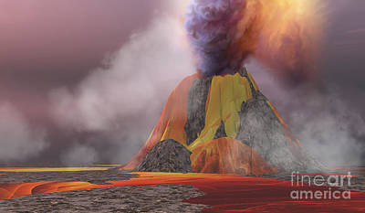 Catastrophe Painting - Volcanic Lands by Corey Ford