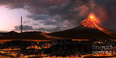 Burnt Digital Art - Volcanic Landscape by Corey Ford