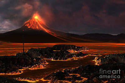 Burnt Digital Art - Volcanic Mountain by Corey Ford