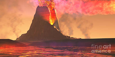 Crater Digital Art - Volcanic Region by Corey Ford