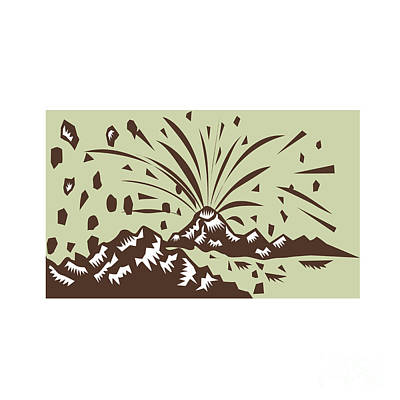 Volcano Eruption Island Woodcut Art Print by Aloysius Patrimonio