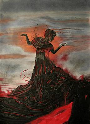 Art Print featuring the painting Volcano Keeper by Melita Safran