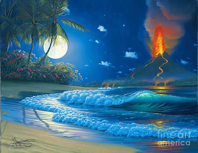 Sea Moon Full Moon Painting - Volcano Moon by Al Hogue