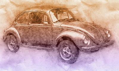 Beetle Mixed Media - Volkswagen Beetle 2 - Beetle - Economy Car - 1938 - Automotive Art - Car Posters by Studio Grafiikka