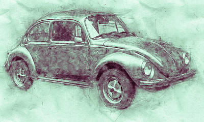 Royalty-Free and Rights-Managed Images - Volkswagen Beetle 3 - Beetle - Economy Car - 1938 - Automotive Art - Car Posters by Studio Grafiikka