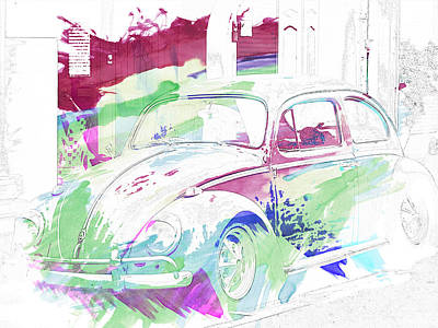 Bug Digital Art - Volkswagen Beetle Abstract by Georgia Fowler