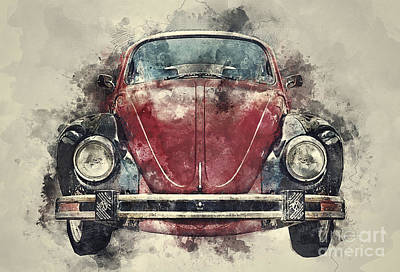 Antique Cars Mixed Media - Volkswagen Beetle by Ian Mitchell