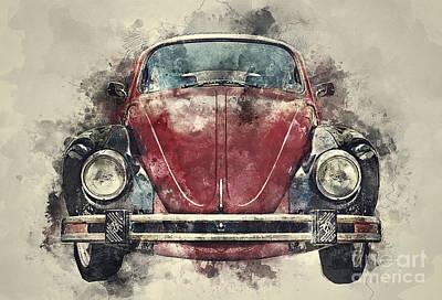 Beetle Mixed Media - Volkswagen Beetle by Ian Mitchell