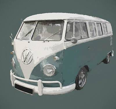 Digital Art - Volkswagen Bus Green by Dan Sproul