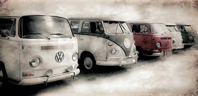 Photograph - Volkswagen Bus Line Up by Athena Mckinzie