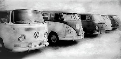 Photograph - Volkswagen Bus Lineup Bw by Athena Mckinzie