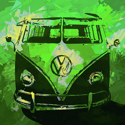 Digital Art - Volkswagen Bus Pop Green by David King
