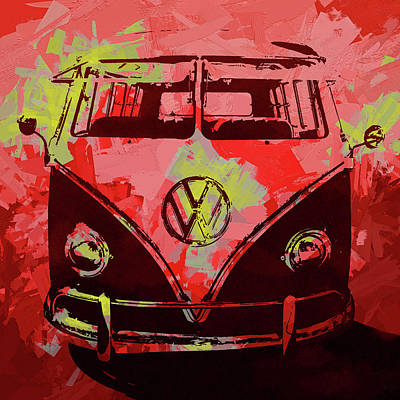 Digital Art - Volkswagen Bus Pop Red by David King