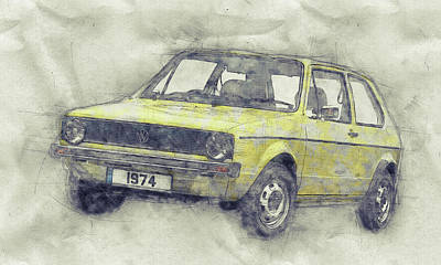 Royalty-Free and Rights-Managed Images - Volkswagen Golf 1 - Small Family Car - 1974 - Automotive Art - Car Posters by Studio Grafiikka