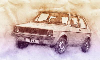Mixed Media - Volkswagen Golf 2 - Small Family Car - 1974 - Automotive Art - Car Posters by Studio Grafiikka