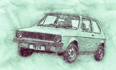 Mixed Media - Volkswagen Golf 3 - Small Family Car - 1974 - Automotive Art - Car Posters by Studio Grafiikka