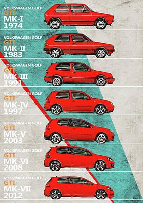 Race Digital Art - Volkswagen Golf - Golf Gt History - Timeline by Yurdaer Bes