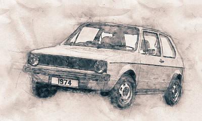 Mixed Media - Volkswagen Golf - Small Family Car - 1974 - Automotive Art - Car Posters by Studio Grafiikka