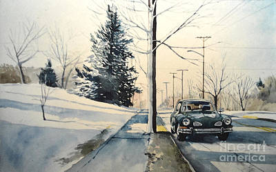 Painting - Volkswagen Karmann Ghia On Snowy Road by Christopher Shellhammer