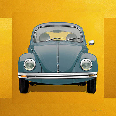 Digital Art - Volkswagen Type 1 - Blue Volkswagen Beetle On Yellow Canvas by Serge Averbukh