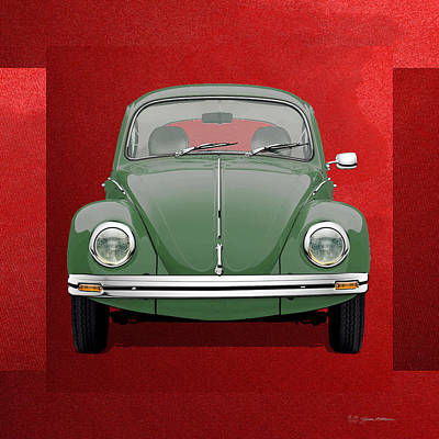 Volkswagen Type 1 - Green Volkswagen Beetle On Red Canvas Original by Serge Averbukh