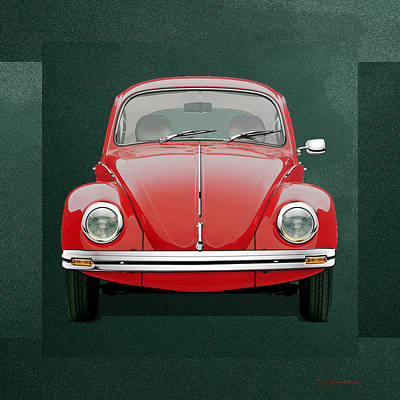 Digital Art - Volkswagen Type 1 - Red Volkswagen Beetle On Green Canvas by Serge Averbukh