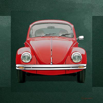 Volkswagen Type 1 - Red Volkswagen Beetle On Green Canvas Original by Serge Averbukh