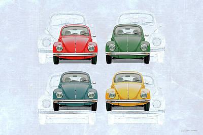 Bug Digital Art - Volkswagen Type 1 - Variety Of Volkswagen Beetle On Vintage Background by Serge Averbukh