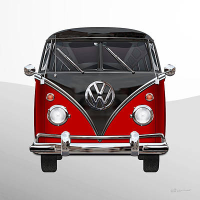 Digital Art - Volkswagen Type 2 - Red And Black Volkswagen T 1 Samba Bus On White by Serge Averbukh