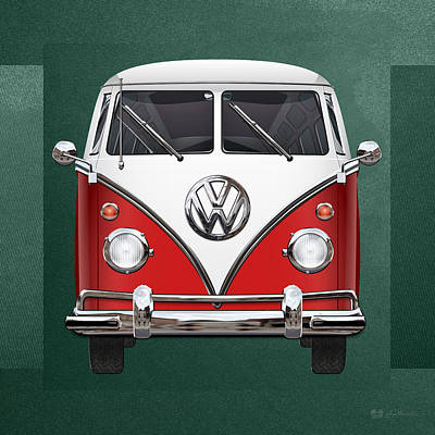 Digital Art - Volkswagen Type 2 - Red And White Volkswagen T 1 Samba Bus Over Green Canvas  by Serge Averbukh