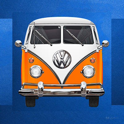 Car Photograph - Volkswagen Type - Orange And White Volkswagen T 1 Samba Bus Over Blue Canvas by Serge Averbukh