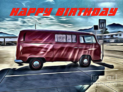 Photograph - Volkswagen Van Birthday Card by Tony Baca