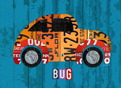 Volkswagen Vw Bug Vintage Classic Retro Vehicle Recycled License Plate Art Usa Art Print by Design Turnpike