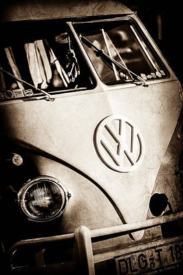 Art Print featuring the photograph Volkswagen Vw Bus Emblem -1355s by Jill Reger
