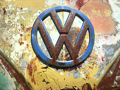 Photograph - Volkswagen Vw Emblem With Rust by Kelly Hazel